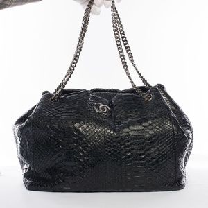 Auth CHANEL Python Accordion Tote Shoulder Bag